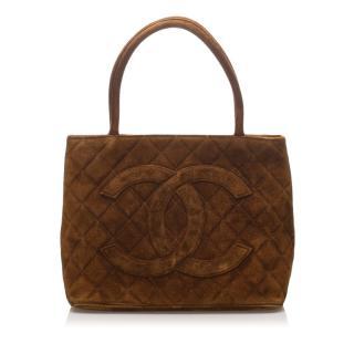 Chanel Suede Medallion Tote Bag