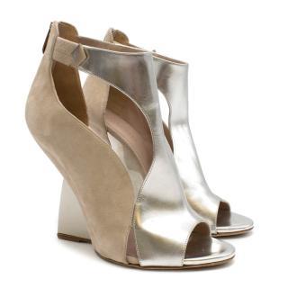 Sergio Rossi Suede and Silver Peep Toe Wedge Heel Sandals
