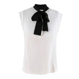 Alexander McQueen White Contrast-Bow Silk Blouse