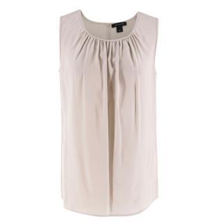 St. John Grey Sleeveless Silk Blouse