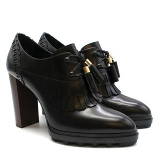 Tod's Black Heeled Lace-up Fringed Brogues