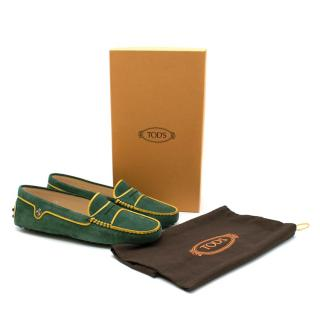 Tod's Green Gommino Suede Driving Shoes