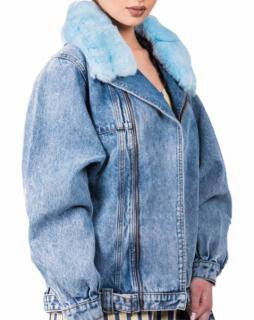 FurbySD Chinchilla Fur Trim Denim Jacket