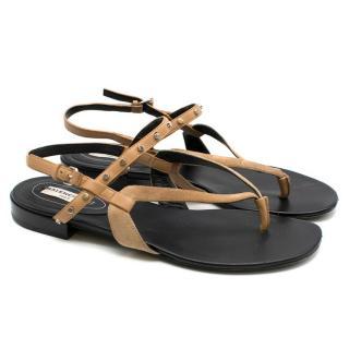 Balenciaga Tan Leather Studded Thong Flat Sandals