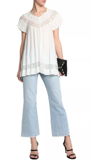 Zimmermann Winsome Sunray Lace Top in Pearl