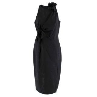 Versace Pinstripe Asymmetric Knot Dress with High Slit