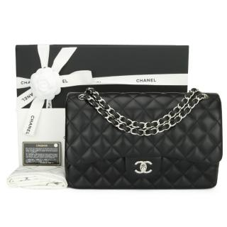 Chanel Black Quilted Leather Jumbo Double Flap Bag