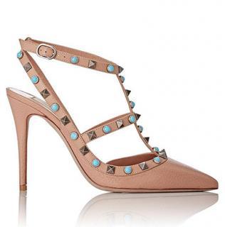 Valentino Garavani Beige Rolling Rockstud Sandals