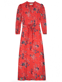 Pyrus Maggie Buzzy Floral Red Print Maxi Dress