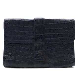 Bespoke Navy Crocodile Large Foldover Clutch Bag