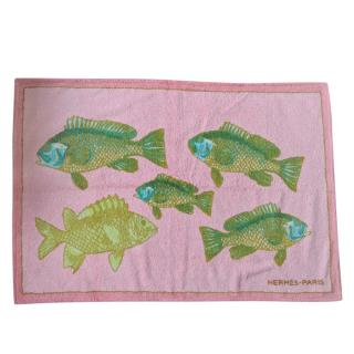 Hermes Pink & Orange Fish Print Reversible Towel