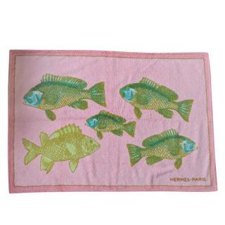 Hermes Pink & Orange Fish Print Reversible Towel