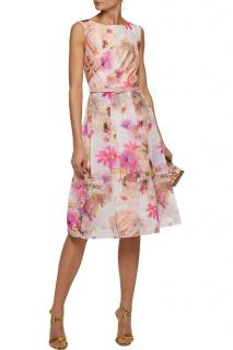 Mikael Aghal Organza Floral Print Dress