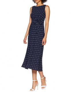 Lauren Ralph Lauren Tomara Navy Blue Spot Midi Dress