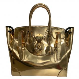 Ralph Lauren Gold Mirrored Ricky Bag