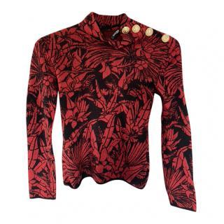 Balmain Red & Black Knit Wool Jumper