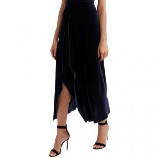Roland Mouret Navy Haxby Draped Velvet midi skirt