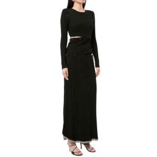 Christopher Esber Black Ribbed Stretch-Knit Maxi Dress