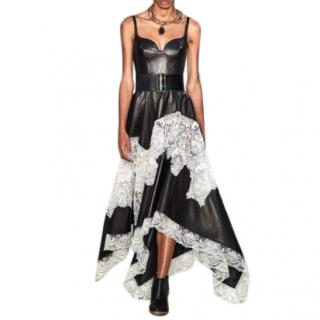Alexander McQueen Leather & Lace Asymmetric Gown - SS20