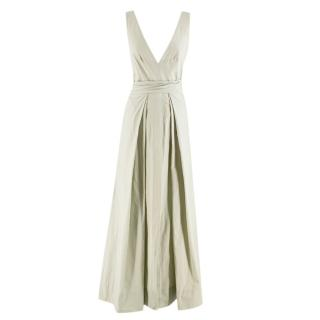 Kalita Green Poet By The Sea Tie Waist Cotton Maxi Dress