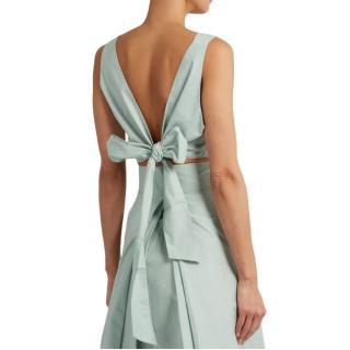 Kalita Bow Tie cotton-poplin cropped top
