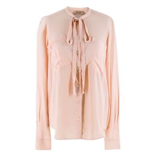 No. 21 Pink Pussy Bow Silk Blend Blouse