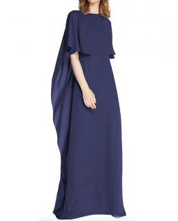 Halston Heritage Cape Sleeve Blue Gown