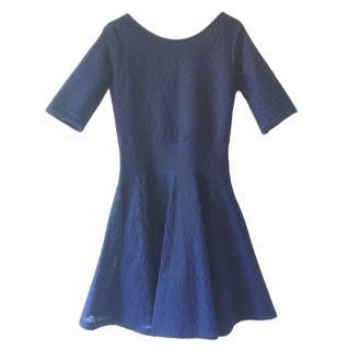 Dior Navy Textured Knit Skater Dress
