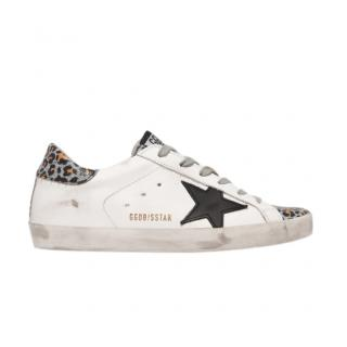 Golden Goose Superstar glittered leopard-print leather sneakers