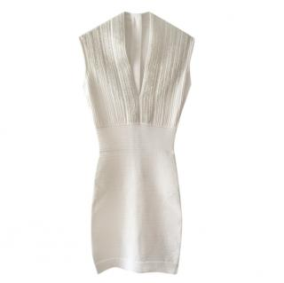 Balmain White V-Neck Fitted Beaded Dress