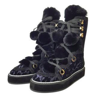 Nicholas Kirkwood Blue Sequin Kira Snow Boot