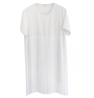 P.A.R.O.S.H Off-White Pleated T-Shirt Dress