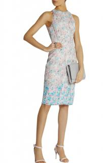 Nina Ricci silk-trimmed lace pastel dress
