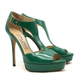 Jimmy Choo Green Patent Leather Peep-Toe Pumps