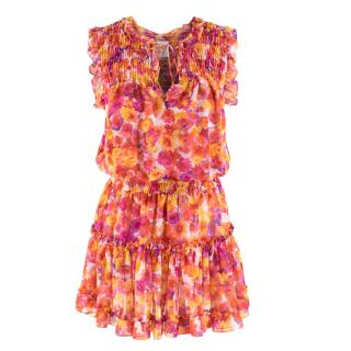Misa Los Angeles Floral Chiffon Ruffle Mini Dress