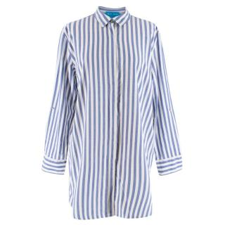 M.I.H Jeans Blue and White Striped Cotton Oversized Shirt