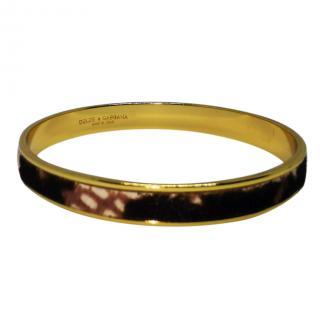 Dolce & Gabbana Gold Plated Calf Hair Bangle