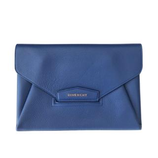 Givenchy Blue Grained Leather Envelope Clutch