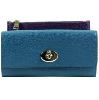 Coach Blue Saffiano Leather Wallet with Insert