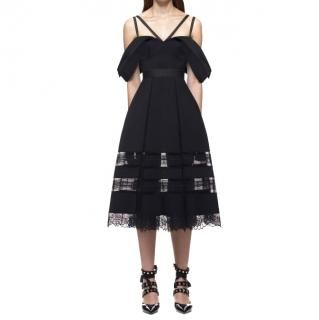 Self Portrait Black Draped Shoulder Midi Dress