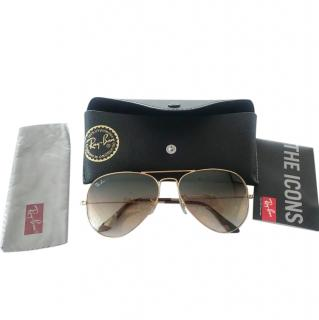Ray Ban Golden Brown Aviator Sunglasses