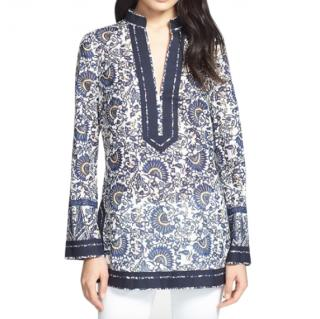 Tory Burch Blue & White Fan Print Tunic
