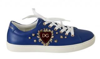 Dolce & Gabbana Blue & White Heart Applique Trainers
