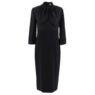 Max Mara Black Pussy Bow Fitted Midi Dress