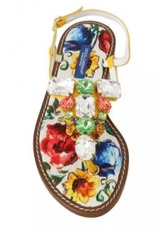 Dolce & Gabbana Sicily Print Crystal Thong Sandals