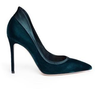 Gianvito Rossi navy blue suede tuxedo pumps
