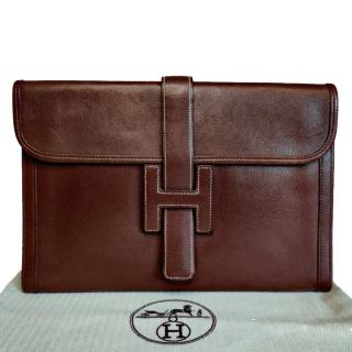 Hermes Epsom Leather Brown Jige Pouch