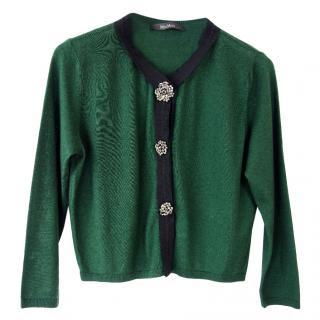 Max Mara Green Silk & Cashmere Cropped Cardigan