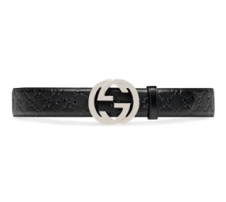 Gucci Black Signature GG Belt - Size 100