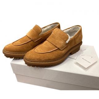 Balenciaga Tan Suede Sheepskin Loafers